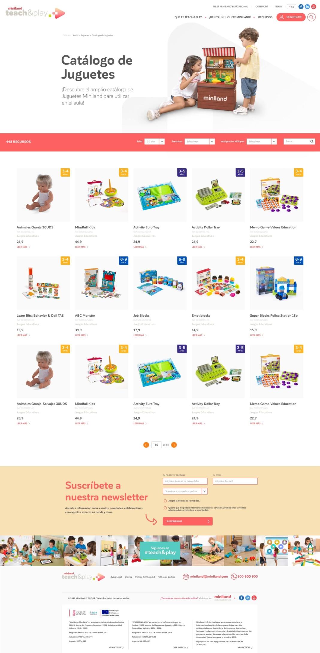 Diseño Miniland teach&play listado de juguetes