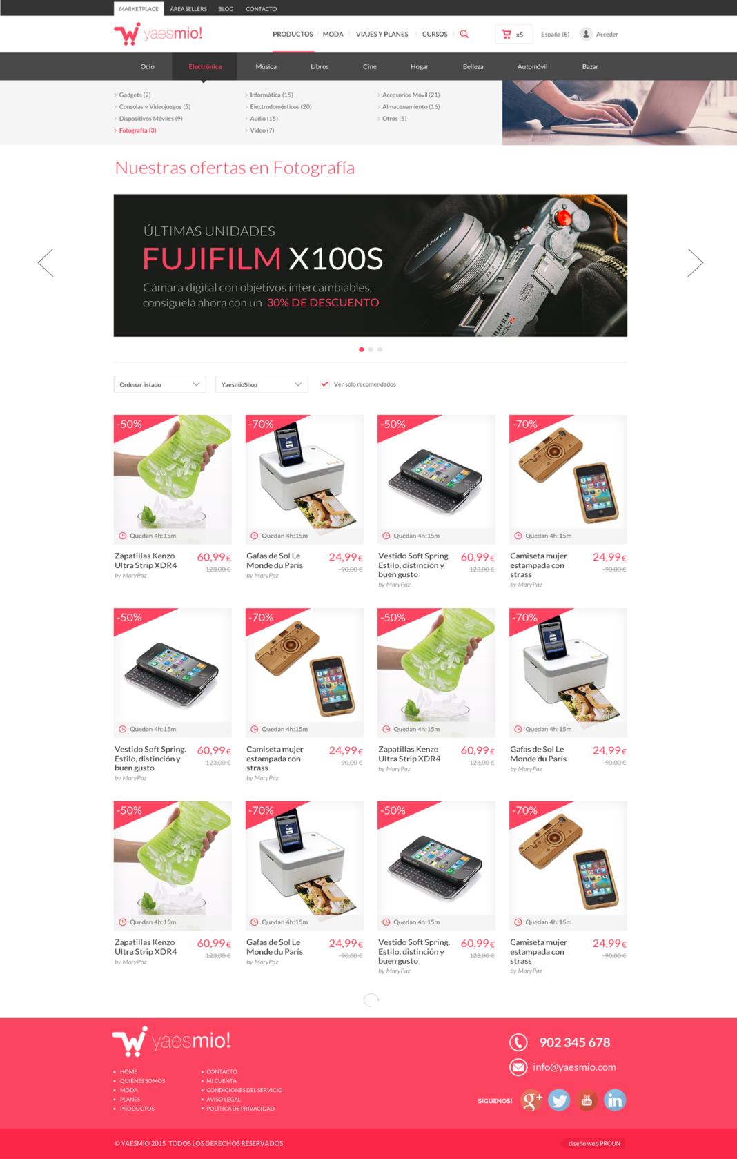 Diseño y desarrollo tienda online Yaesmío