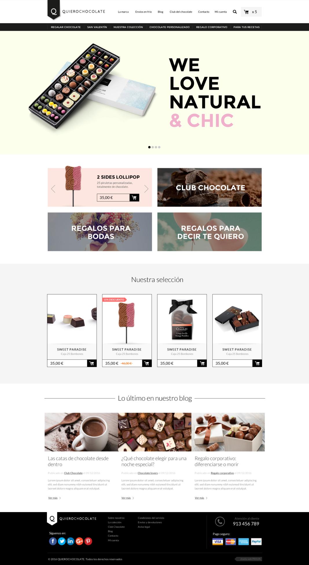 Diseño web tienda online Quierochocolate