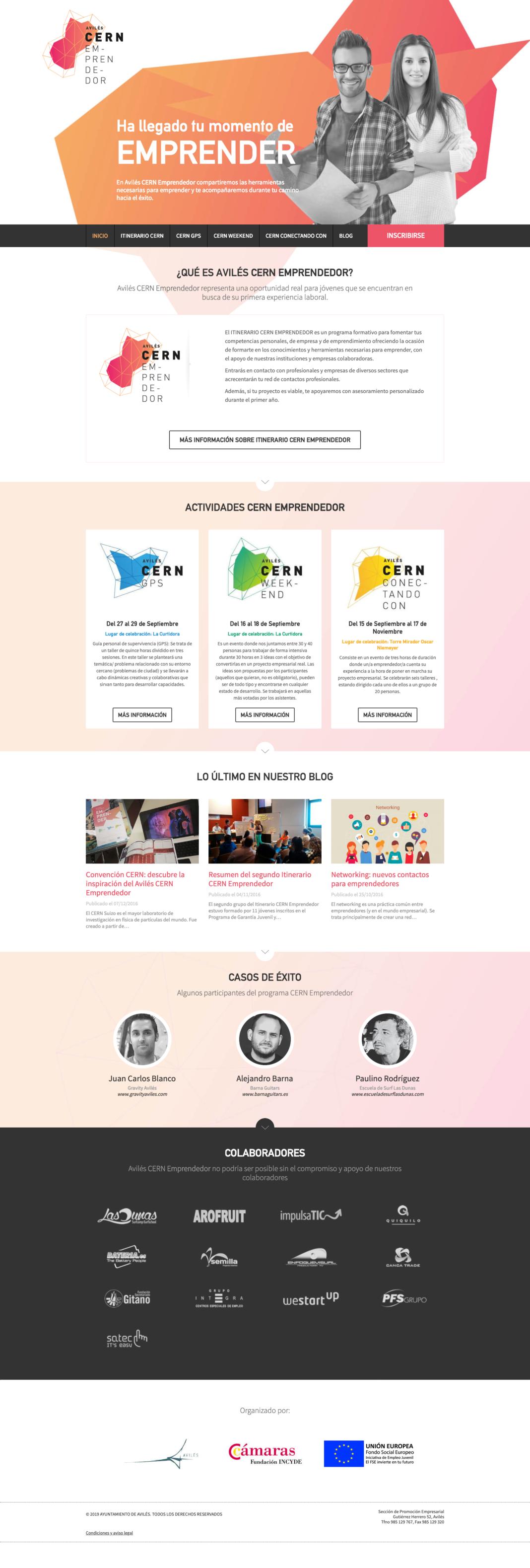 Diseño web CERN Emprendedor