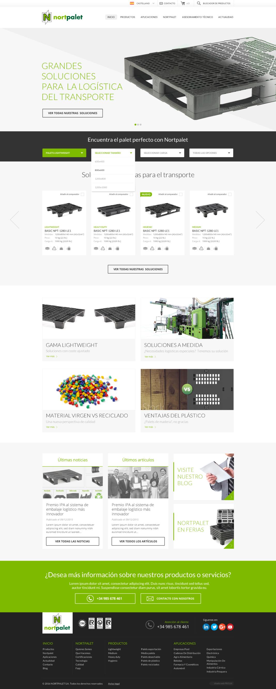 Diseño y desarrollo tienda online Nortpalet