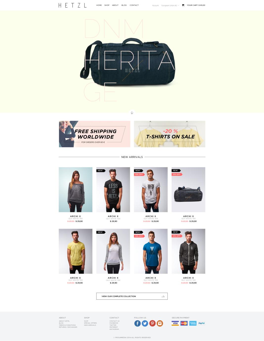 Diseño tienda online Hetzl Clothing