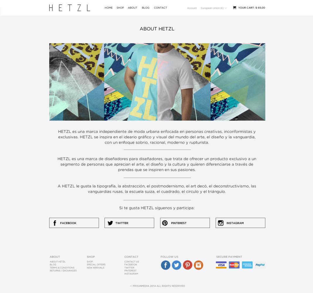 Diseño y desarrollo tienda online Hetzl Clothing
