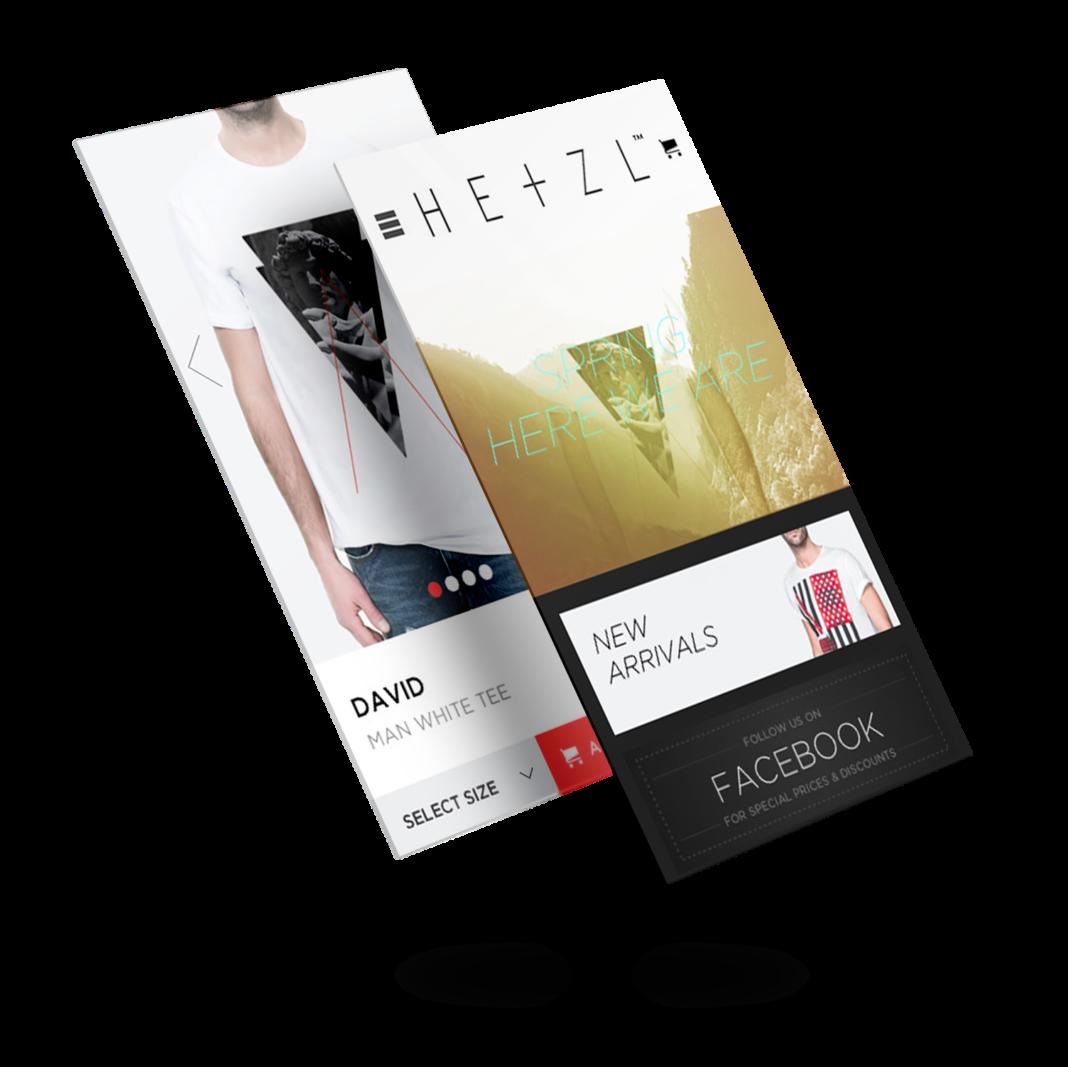 Diseño tienda online móvil Hetzl Clothing