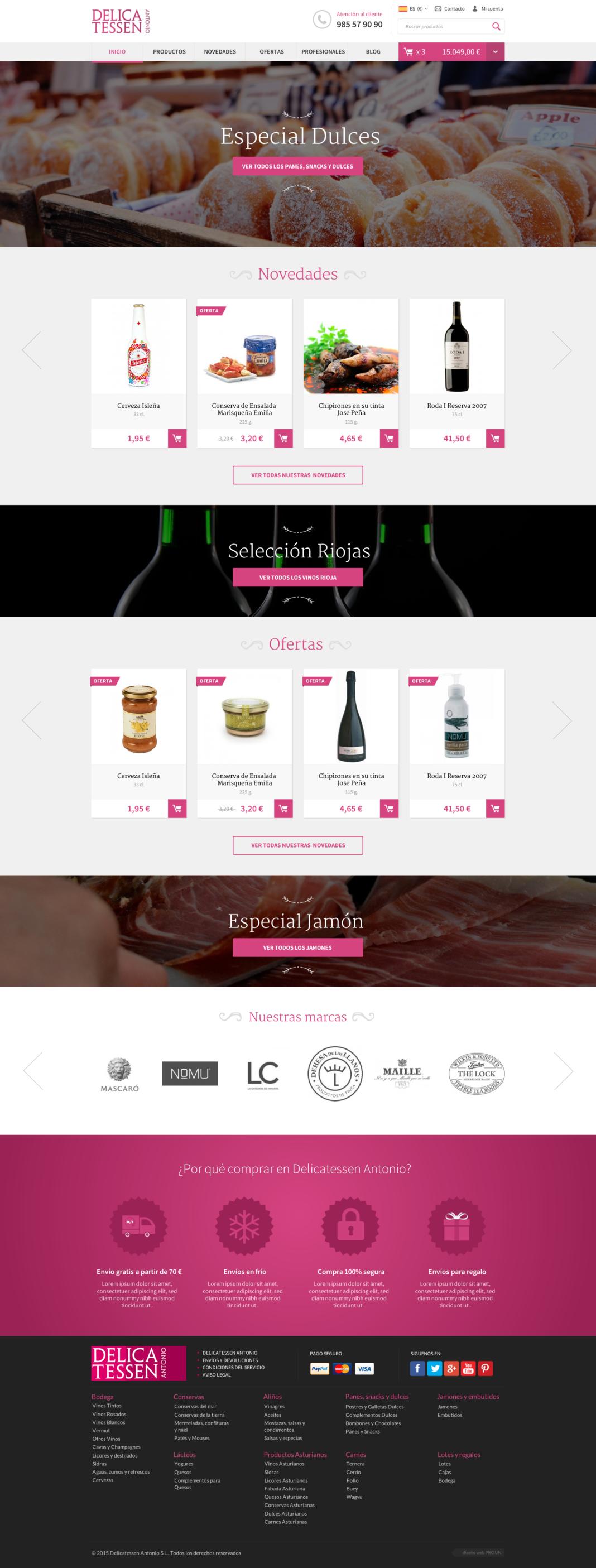 Diseño web Delicatessen Antonio