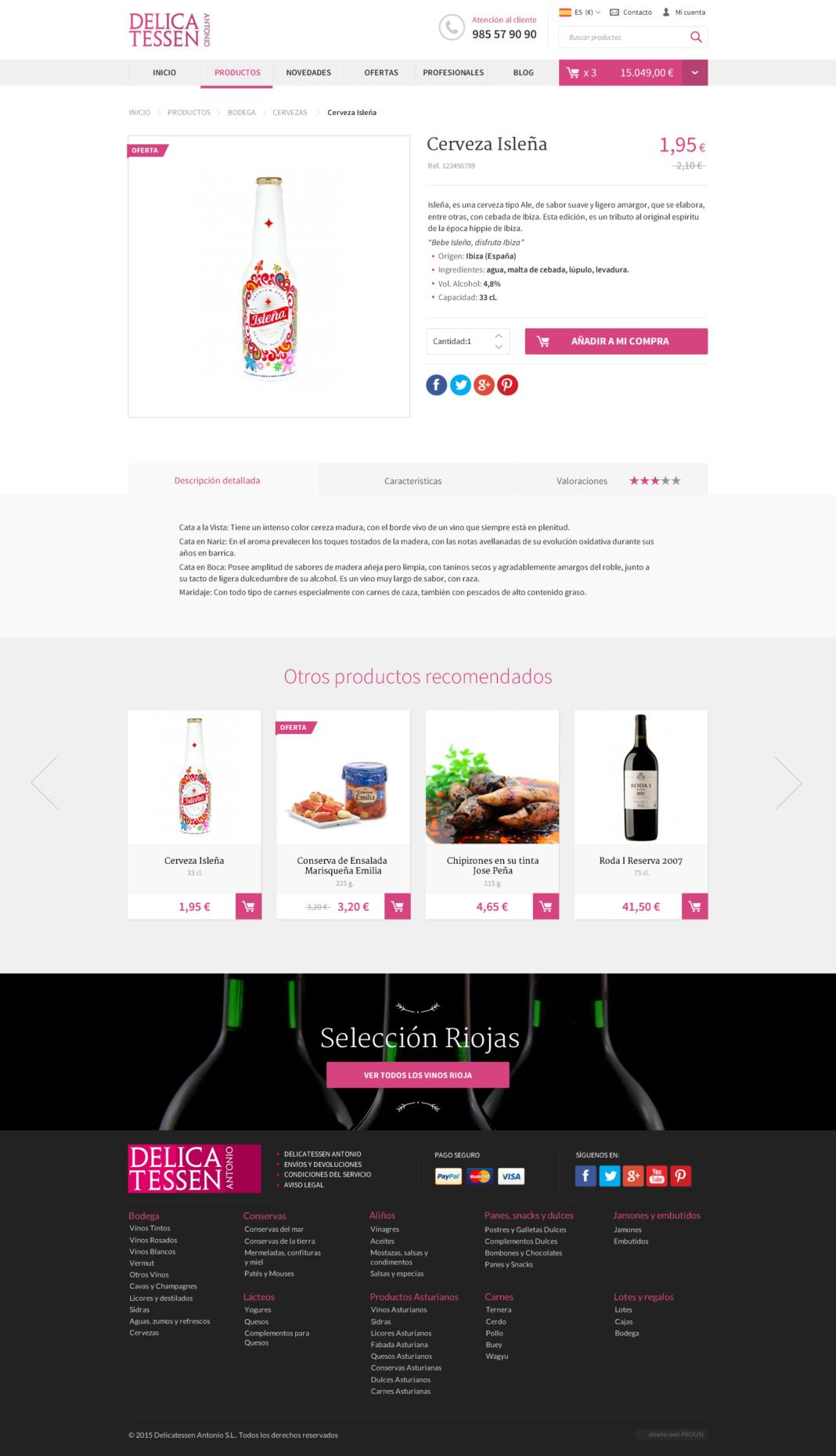Diseño y desarrollo web Delicatessen Antonio