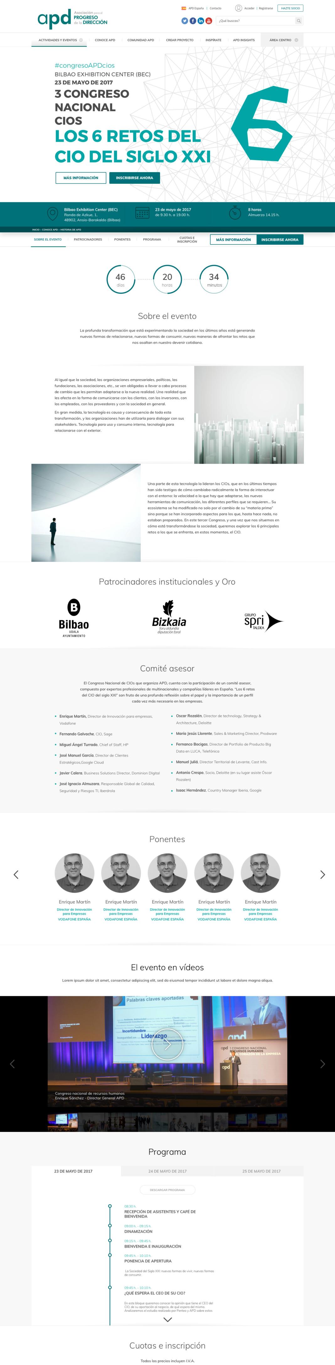 Diseño web APD: actividades y eventos