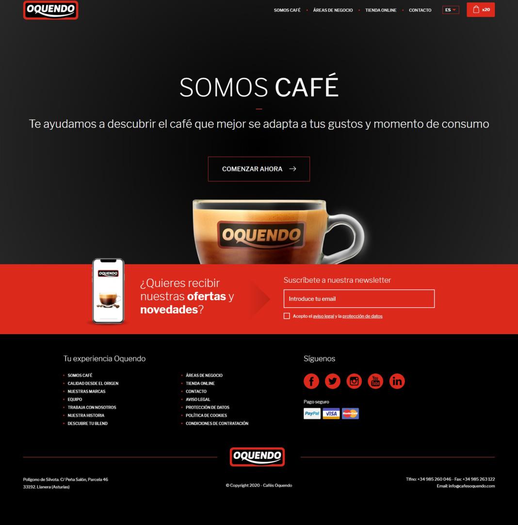 Desarrollo y diseño del ecommerce de Cafés Oquendo